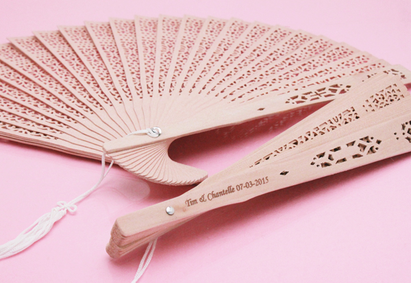 Personalized Sandalwood Fan Favors Palm And Bamboo Hand Fans Wedding Favo