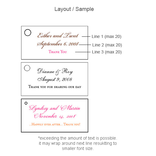 Examples Of Wedding Favor Tags : Printed Wedding Favor Tags20 pcsRectangle Hang Tags and Stickers ...