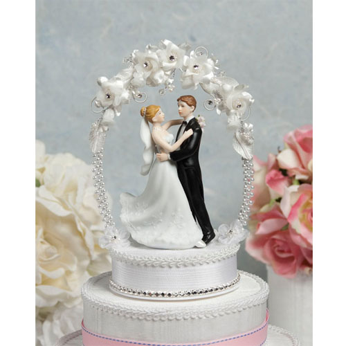 Sweet Flower And Crystal Arch Cake Topper Wedding Cake