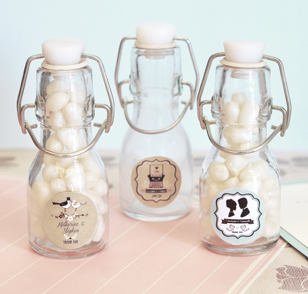 Vintage Wedding Personalized Mini Glass Bottles Favor