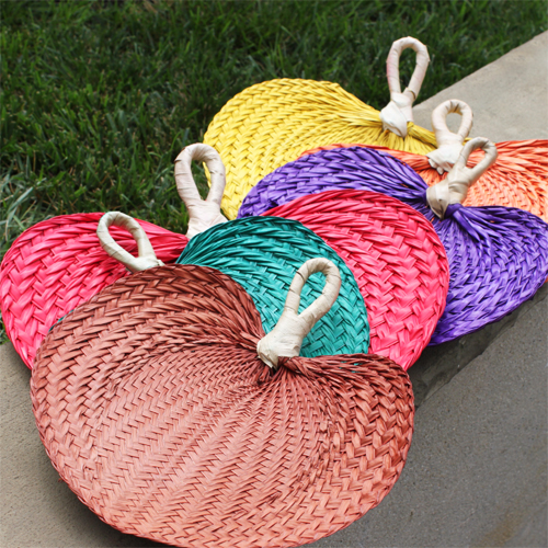 Colored Palm Hand Fans