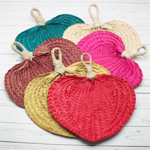 Colored Palm Hand Fans - 10 pcs