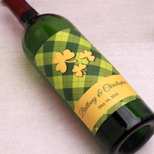 Irish Gingham Personalized Wine Label