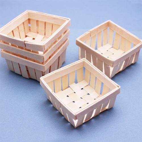 Mini Wooden Basket Favor 6 Pcs Unique Wedding Favor