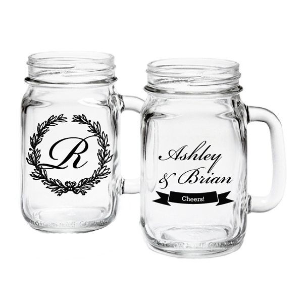 Personalized mason jar drinking glass exclusive personalized champagne wine shot glasses - Mason jar goblets ...