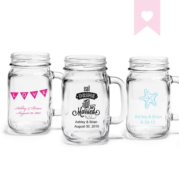 Mason Jars Wedding Shower Drinking Glasses