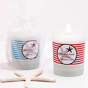 Personalized Beach Frosted Glass Candle Holder