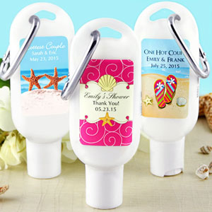 Personalized Sunscreen SPF 30 Favors With Carabiner