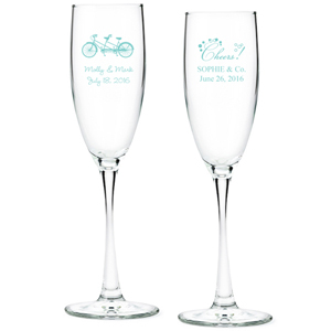 Tiffany Blue Personalized Glass Champagne Flutes