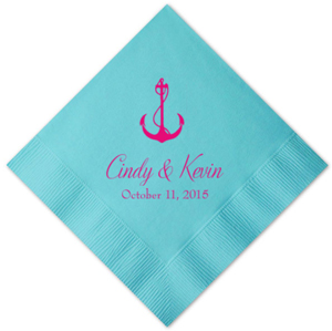 Aqua Personalized Napkins - 25 pieces