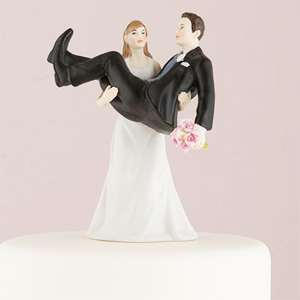 """To Have and to Hold"" - Bride Holding Groom Cake Topper"
