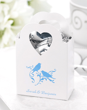 Personalized Heart Handled Favor Bags - 50 pcs