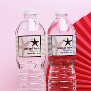 Starfish Personalized Water Bottle Label - 12 pcs