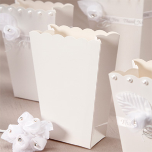 White Popcorn Favor Boxes - set of 6 - White Wedding Favor ...