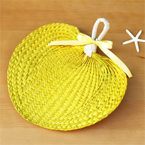 Yellow Palm Leaf Hand Fans - 10 pieces