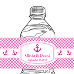 Anchor Gingham Personalized Water Bottle Label - 12 pcs