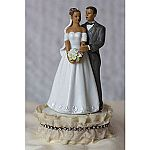 Antique Silk and Rhinestones African American Bride and Groom Wedding Cake Topper