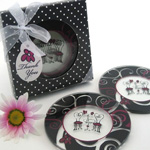 """Bistro for Two"" Round Glass Coaster Favors in Designer Gift Box (Set of 2)"