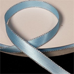 "Blue 3/8"" Satin Ribbon Polyester with Silver Edge"