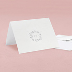 Botanical Wreath Monogram Simplicity Thank You Card With Fold