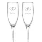 Bride and Groom Linked Heart Flutes