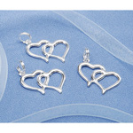 Charms - Double Heart Outline - Silver - 20 pieces