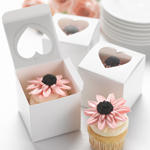 Cupcake Heart Shaped Window Favor Boxes