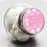 Damask First Communion Personalized Mini Glass Candy Jars