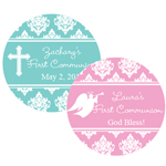 Damask First Communion Personalized Round Labels - 20 pieces