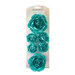 David Tutera Paper Roses - Turquoise - 6 pieces