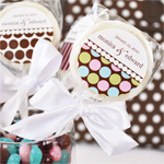 Dots and Stripes Personalized Lollipop Favors