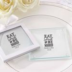 Eat, Drink & Be Married Personalized Glass Coaster (Set of 12)