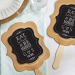 Eat, Drink & Be Married Personalized Kraft Fan (Set of 12)