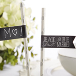 Eat, Drink & Be Married Personalized Party Straw Flags