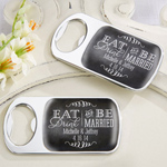 Eat, Drink & Be Married Personalized Silver Bottle Opener