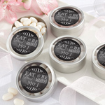 Eat, Drink & Be Married Personalized Silver Round Candy Tin (Set of 12)
