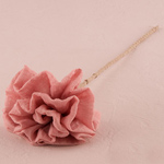 Fabric Ruffle Flower on a Single Wire Stem
