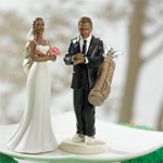Golf Fanatic Bride and Groom Cake Topper