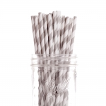 Grey Striped Paper Straws