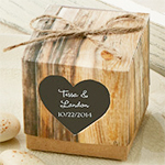 """Hearts in Love"" Rustic Favor Box - Set of 24"