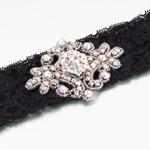 Jeweled Black Garter