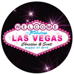 Las Vegas Round Personalized Stickers - 12 pcs