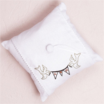 Love Bird Flag Banner Personalized Linen Ring Pillow