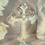Medium Ivory Silver Deco Cross with Base
