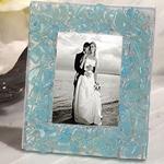 Murano Blue Pebble Design Photo Frame Favor