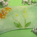 Murano Calla Lily Design Rectangular Wavy Dish