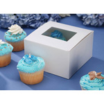 Pastry Box with Window - White - 6 x 6 x 3.5 inches - 4 pieces