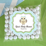 Personalized Blue Owl Clear Candy Bags - Set of 24