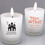 Personalized Halloween Frosted Glass Candle Holder