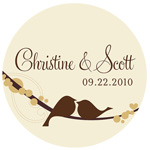 Personalized Love Birds Round Labels